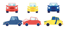 Cars Set Isolated On White Background. Different Multicolored Sedan Cars Front And Side View Taxi Cab Accident Situation With Automobile Having Broken Bumper Cartoon Flat Vector Illustration, Clip Art