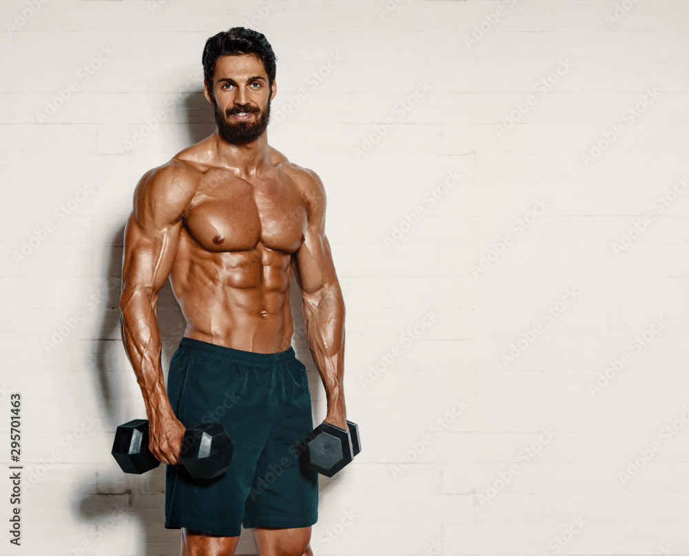 Fototapety, obrazy: Handsome Muscular Men, Bodybuilder Lifting Weights. copy space