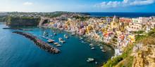Panoramic Sight Of The Beautiful Island Of Procida, Near Napoli, Campania Region, Italy.