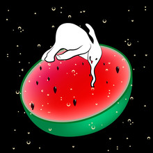 Abstract Funny Illustration Of An Elephant Who Drinks Watermelon Juice, Vector Print