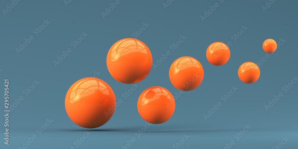 Fototapety, obrazy: Falling orange balls in the blue background. 3d render illustration for advertising.
