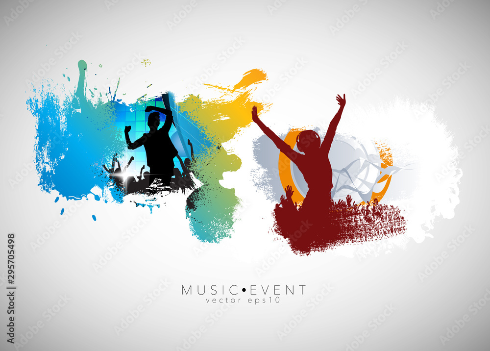 Fototapety, obrazy: Party background with dancing people - vector illustration