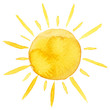 Leinwanddruck Bild - Yellow ink shiny sun watercolor illustration isolated on white background