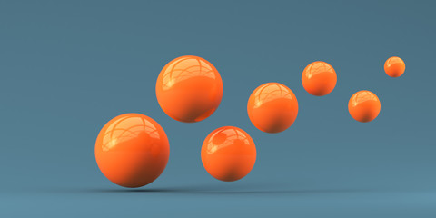 Falling orange balls in the blue background. 3d render illustration for advertising.