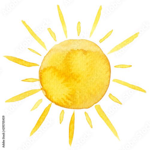 Obraz Yellow ink shiny sun watercolor illustration isolated on white background - fototapety do salonu