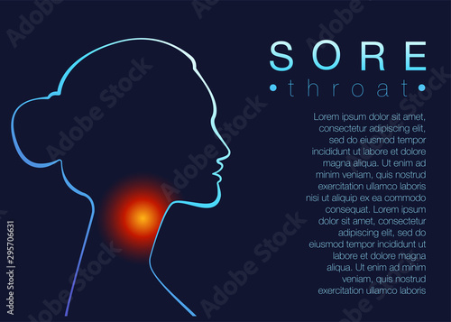 Fotografía Template for medical broshure Sore throat with text space