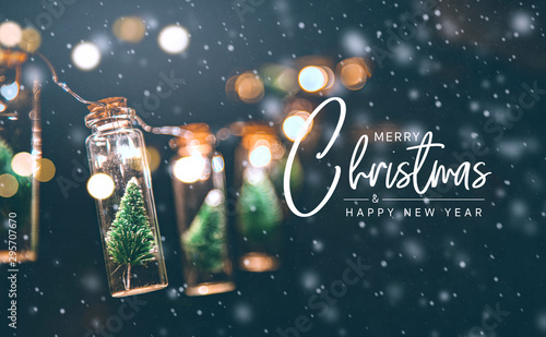 Fototapeta Merry Christmas and happy new year concept, Close up, Elegant Christmas tree in glass jar decoration. obraz