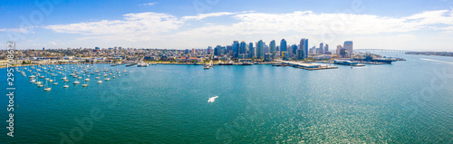 Amazing panoramic view of the San Diego downtown by the harbour with many skyscr Wallpaper Mural