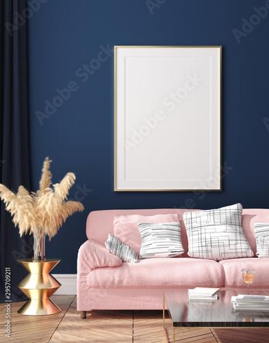Photo Dark blue Scandinavian home interior  with retro furniture, poster wall mock-up