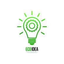 Green Bulb With Gear. Eco Idea...