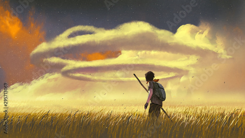 young man walking through a meadow and looking at the ring clouds in the sky, digital art style, illustration painting
