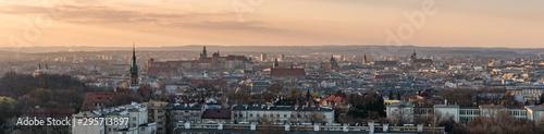 Krakow panorama from Krakus Mound, Poland landscape during sunset.