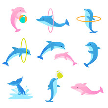 Colorful Set Of Playful Dolphins Performing Tricks With Ring And Ball. Vector Illustration In Flat Cartoon Style