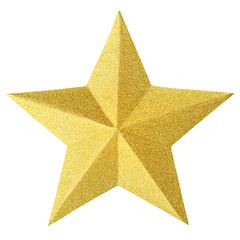 Christmas gold star isolated on white background. Christmas ornament closeup golden star