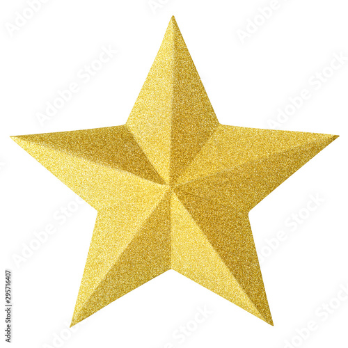 Fotografia Christmas gold star isolated on white background