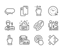 Set Of Business Icons, Such As Vacancy, Strategy, Seo Statistics, Businessman Case, Click Hand, 24 Hours, Messenger, Touchscreen Gesture, Pecan Nut, Skin Cream, Click, Smartphone. Vacancy Icon. Vector