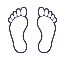 Human Foot Footprint Outline Icon