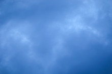 Blue Sky With Cloud, Dark Blue Cloud With White Light Sky Background And Midnight Evening Time