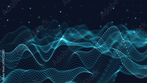 Cadres-photo bureau Fractal waves 3d abstract digital technology background. Futuristic sci-fi user interface concept with gradient dots and lines. Big data, artificial intelligence, music hud. Blockchain and cryptocurrency