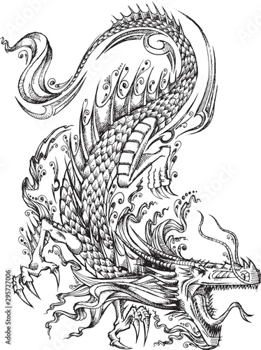 Photo sur Toile Cartoon draw Tribal Sketch Dragon Vector Illustration Art