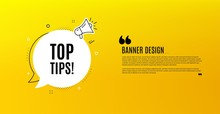 Top Tips Symbol. Yellow Banner...