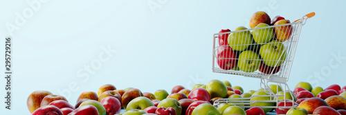 Fotografía  Trolley cart full of apples; original 3d rendering