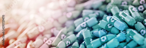 Infinite plastic bottles with recycle icon; original 3d rendering Canvas-taulu