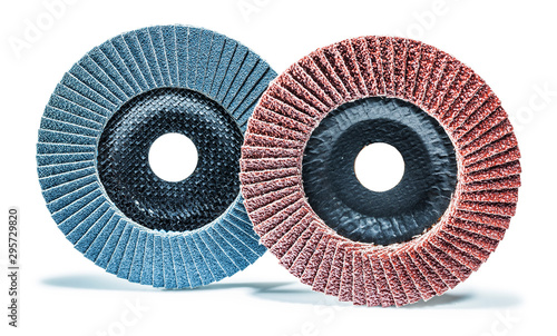 Photo abrasive treatment tools two flap discs isolated