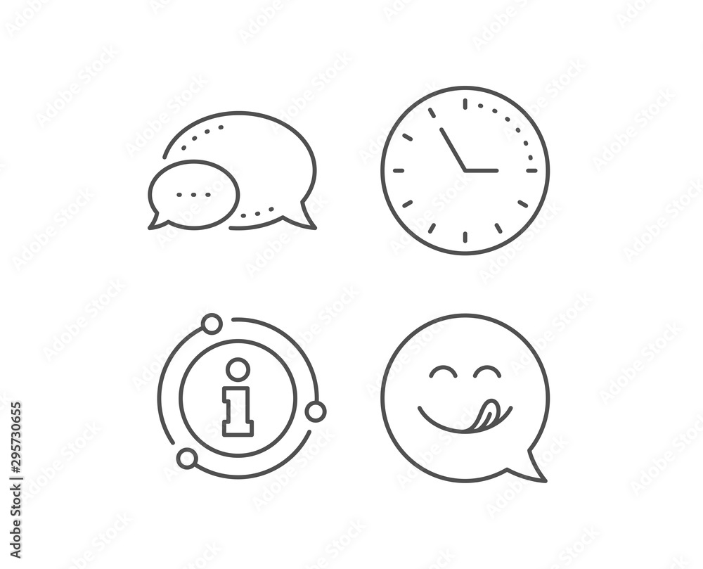 Fototapeta Yummy smile line icon. Chat bubble, info sign elements. Emoticon with tongue sign. Speech bubble symbol. Linear yummy smile outline icon. Information bubble. Vector