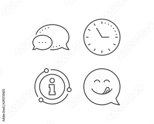 Fototapeta Yummy smile line icon. Chat bubble, info sign elements. Emoticon with tongue sign. Speech bubble symbol. Linear yummy smile outline icon. Information bubble. Vector obraz