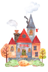 Cute forest house on a stump of watercolor elements. Great for postcards, souvenirs, posters, baby stickers
