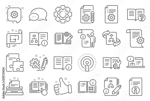 Fotomural  Technical document line icons