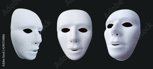 Fotografie, Obraz  comedy and tragedy masks on black background