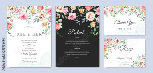 Cuadros en Lienzo beautiful wedding card floral and leaves template