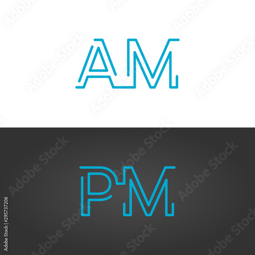 Linear geometric outline am and pm text , 24 hours service, anytime concept, clock or alarm typography letters, day and night Canvas Print