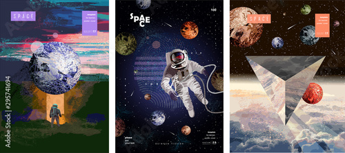 Slika na platnu Vector illustration of space, cosmonaut and galaxy for poster, banner or background
