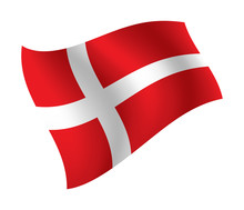 Denmark Flag Waving Isolated V...