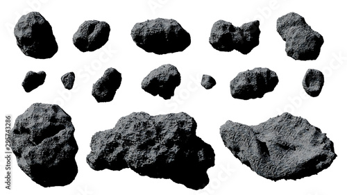 set of asteroids isolated on white background Wallpaper Mural