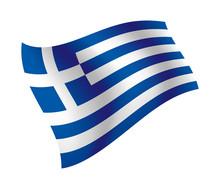 Greece Flag Waving Isolated Vector Illustration