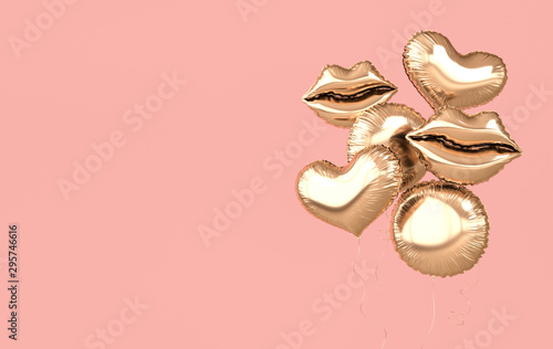 Golden foil balloons isolated on pink background. 3d render element for birthday party, Valentine`s day, presentation. Heart, sphere and lips shape