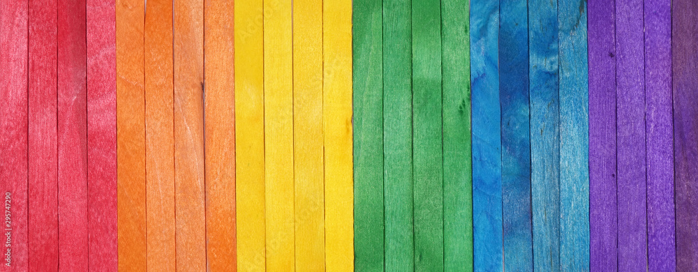 Fototapeta Rainbow color pattern wooden background. LGBT colors
