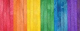 Fototapeta Rainbow - Rainbow color pattern wooden background. LGBT colors