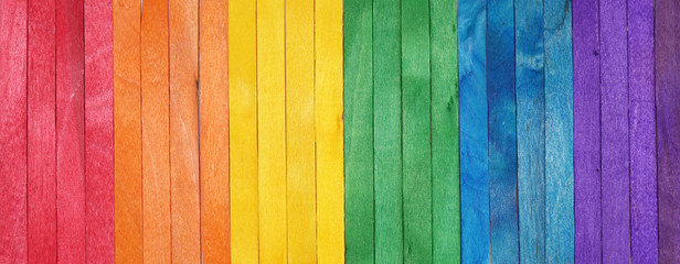 Rainbow color pattern wooden background. LGBT colors