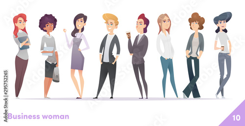 Fototapety, obrazy: Business women character design collection. Professional females stand together.