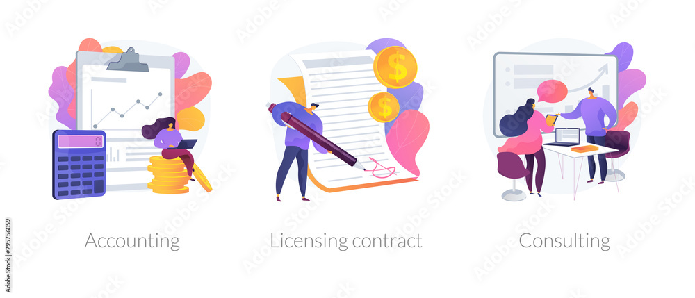 Fototapeta Financial audit and literacy. Financier, banker advising, bookkeeping. Agreement signing. Accounting, licensing contract, consulting metaphors. Vector isolated concept metaphor illustrations