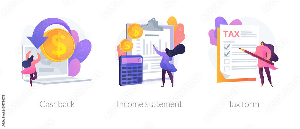 Fototapeta Accounting and bookkeeping cartoon web icons set. Money online refund. Financial consulting. Cashback, income statement, tax form metaphors. Vector isolated concept metaphor illustrations