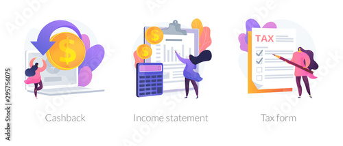 Fototapeta Accounting and bookkeeping cartoon web icons set. Money online refund. Financial consulting. Cashback, income statement, tax form metaphors. Vector isolated concept metaphor illustrations obraz