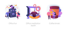 Stress Relief Web Icons Cartoon Set. Employees Characters At Corporate Party. Office Fun, Office Meditation Booth, Coffee Break Metaphors. Vector Isolated Concept Metaphor Illustrations