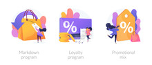 Shopping Marketing Campaign Icons Cartoon Set. Store Special Offers Advertisement. Markdown Program, Loyalty Program, Promotional Mix Metaphors. Vector Isolated Concept Metaphor Illustrations