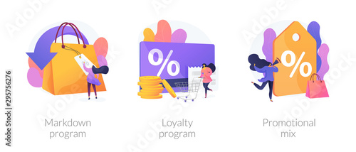 Cuadros en Lienzo Shopping marketing campaign icons cartoon set